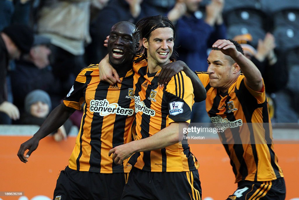 Hull City's Yannick Sagbo celebrates his opening goal during the Barclays Premier League match between Hull City and Sunderland at KC Stadium on November 02, 2013 in Hull, England.