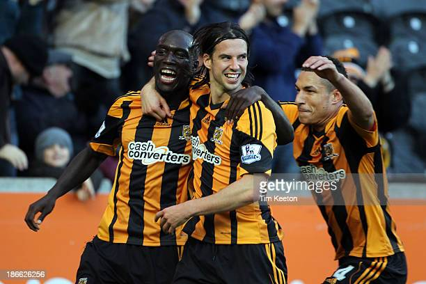 Hull City's Yannick Sagbo celebrates his opening goal during the Barclays Premier League match between Hull City and Sunderland at KC Stadium on...