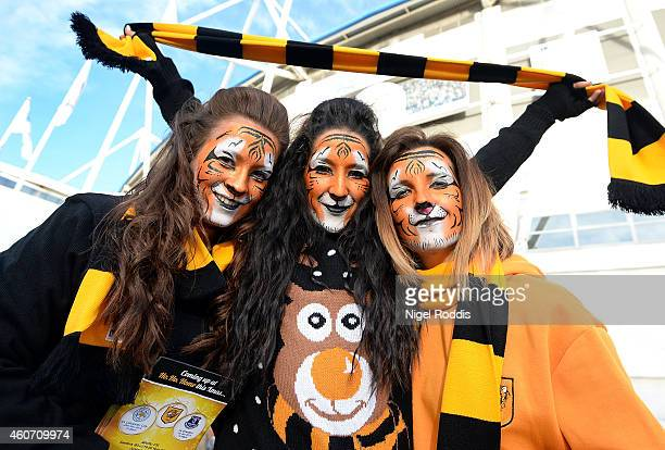 Hull fans show their support prior to the Barclays Premier League match between Hull City and Swansea City at KC Stadium on December 20 2014 in Hull...