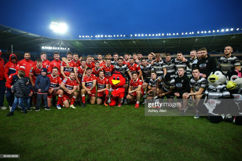 Hull FC and Hull KR pose for a photo during the Clive Sullivan Trophy, pre-season friendly match between Hull FC and Hull KR at KCOM Stadium on January 14, 2018 in Hull, England.