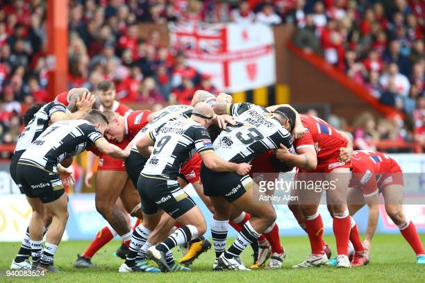 Hull FC and Hull KR Srum during the BetFred Super League match between Hull KR and Hull FC at KCOM Craven Park on March 30 2018 in Hull England