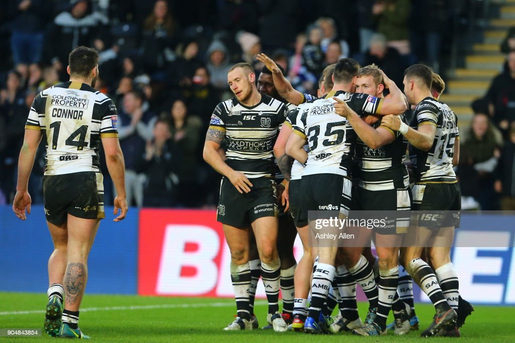Hull FC celebrate a try during the Clive Sullivan Trophy, pre-season friendly match between Hull FC and Hull KR at KCOM Stadium on January 14, 2018 in Hull, England.