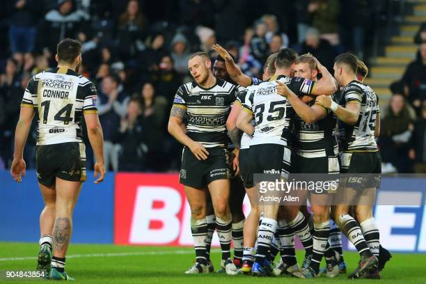 Hull FC celebrate a try during the Clive Sullivan Trophy, pre-season friendly match between Hull FC and Hull KR at KCOM Stadium on January 14, 2018...
