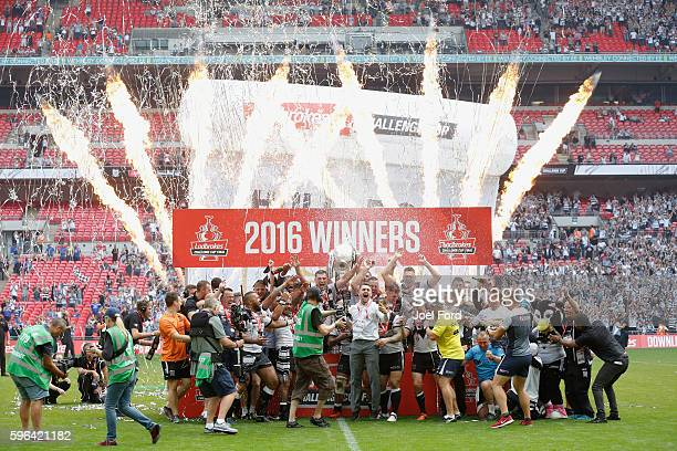 Hull FC celebrate after winning the Ladbrokes Challenge Cup Final between Hull FC and Warrington Wolves at Wembley Stadium on August 27 2016 in...