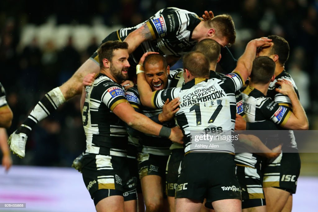 Hull FC celebrate during the BetFred Super League match between Hull FC and Warrington Wolves at KCOM Stadium on March 2, 2018 in Hull, England.