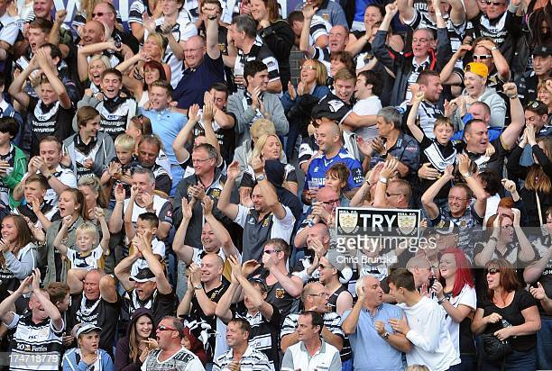 Hull FC fans celebrate a try during the Tetley's Challenge Cup Semi Final between Hull FC and Warrington Wolves at John Smith's Stadium on July 28...