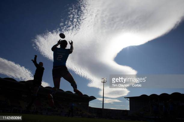 April 13: Hull FC players warming up before kick off with an incredible cloud formation in the late afternoon sky during the Catalans Dragons V Hull...