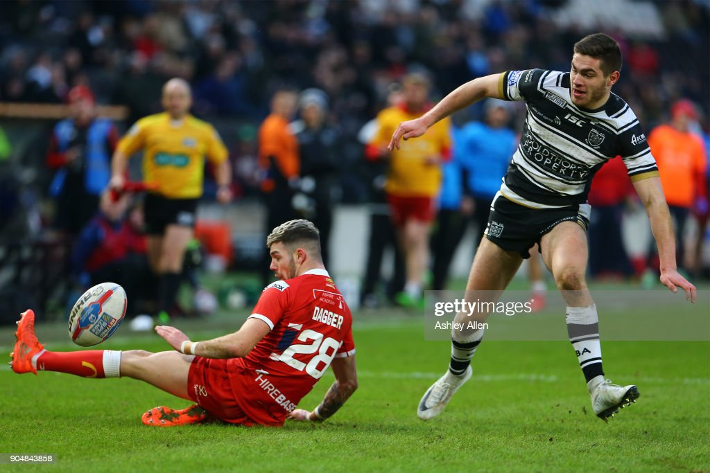 Hull FC's Jack Sanderson moves around Hull KR's Will Dagger on his way to scoring a try during the Clive Sullivan Trophy, pre-season friendly match between Hull FC and Hull KR at KCOM Stadium on January 14, 2018 in Hull, England.