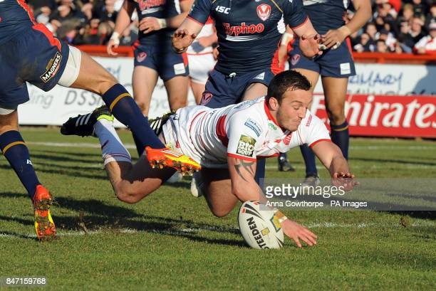 Hull Kingston Rovers' Josh Hodgson goes over to score a try during the Stobart Super League match at Craven Park Stadium Hull
