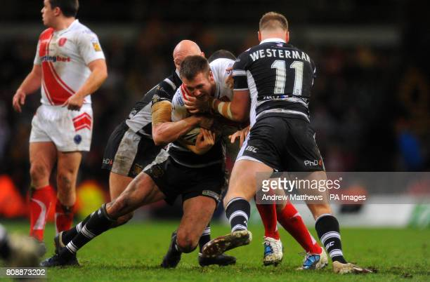 Hull Kingston Rovers' Liam Watts in action with Hull FC's Joe Westerman
