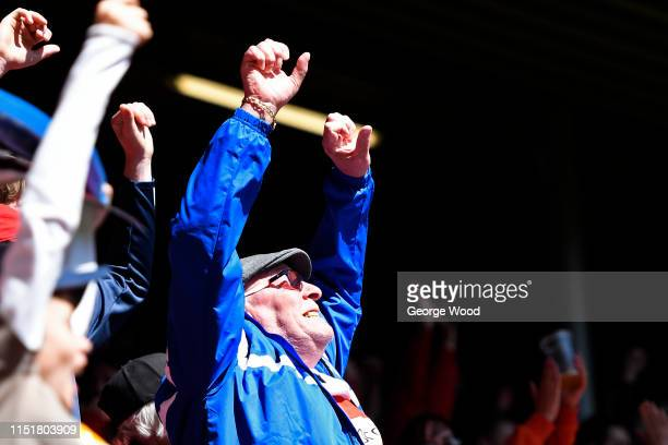 Hull Kingstone Rovers fan celebrates after the Betfred Super League: Dacia Magic Weekend match between Salford Red Devils and Hull Kingston Rovers at...