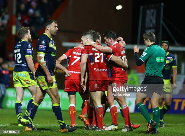 Hull KR celebrate a try during the BetFred Super League match between Hull KR and Wakefield Trinity at KCOM Craven Park on February 2 2018 in Hull...