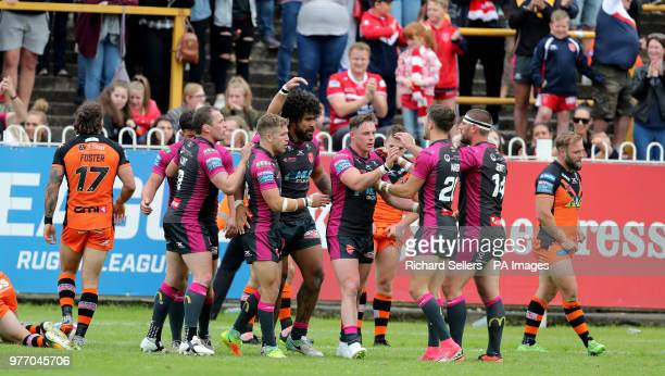 Hull KR celebrate after Hull KR's Mosew Masoe scores during the Betfred Super League match at the MendAHose Jungle Casteford