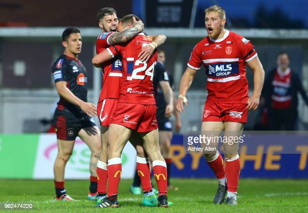Hull KR celebrate Chris Atkin try during the Betfred Super League at KCOM Craven Park on May 25, 2018 in Hull, England.