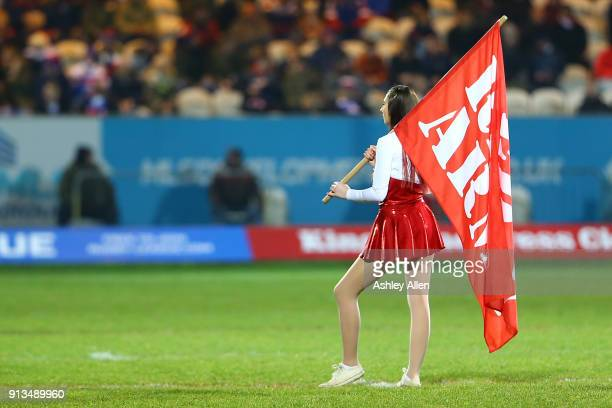 Hull KR cheerleader awaits the start of play during the BetFred Super League match between Hull KR and Wakefield Trinity at KCOM Craven Park on...