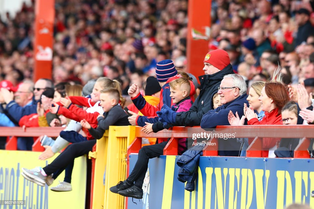 Hull KR fans look on during the BetFred Super League match between Hull KR and Leeds Rhinos at KCOM Craven Park on April 29, 2018 in Hull, England.