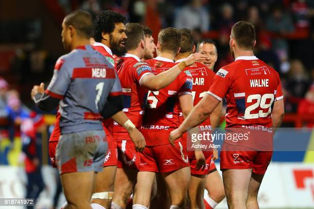 Hull KR players celebrate a try during the BetFred Super League match between Hull KR and Catalans Dragons at KCOM Craven Park on February 15 2018 in...