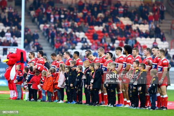 Hull KR players line up during the Betfred Super League at KCOM Craven Park on May 25, 2018 in Hull, England.