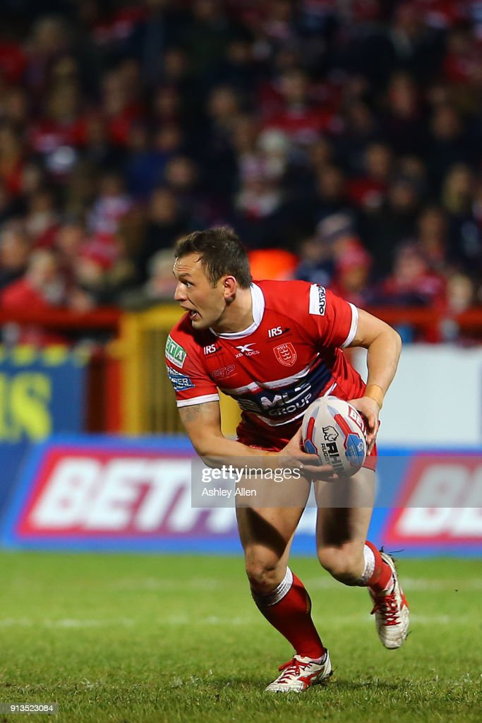Hull KR's Danny McGuire looks for a pass during the BetFred Super League match between Hull KR and Wakefield Trinity at KCOM Craven Park on February 2, 2018 in Hull, England