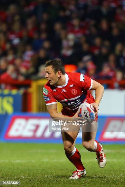 Hull KR's Danny McGuire looks for a pass during the BetFred Super League match between Hull KR and Wakefield Trinity at KCOM Craven Park on February...