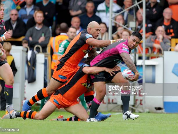 Hull KR's Junior Vaivai looks to off load during the Betfred Super League match at the MendAHose Jungle Casteford