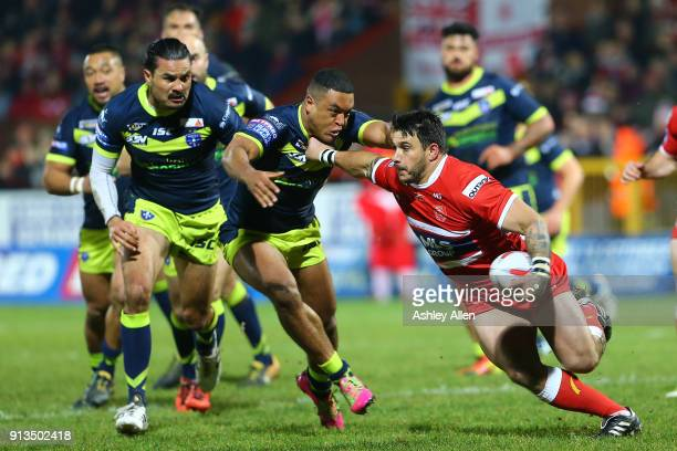 Hull KR's Justin Carney pushes aside Reece Lyne of Wakefield Trinity during the BetFred Super League match between Hull KR and Wakefield Trinity at...