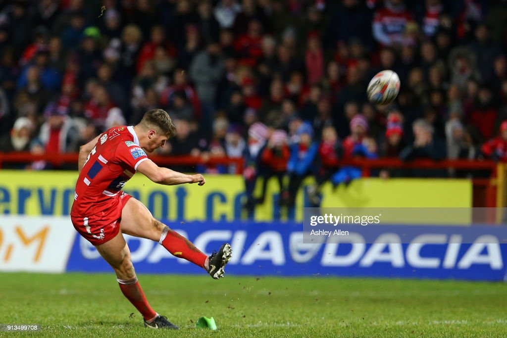Hull KR's Ryan Shaw kicks towards the goal posts during the BetFred Super League match between Hull KR and Wakefield Trinity at KCOM Craven Park on February 2, 2018 in Hull, England.