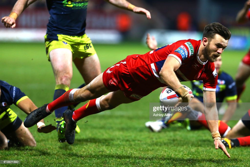 Hull KR's Thomas Minns dives in for a disallowed Try during the BetFred Super League match between Hull KR and Wakefield Trinity at KCOM Craven Park on February 2, 2018 in Hull, England