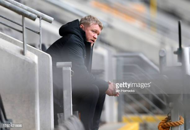 Hull manager Grant McCann before the Sky Bet League One match between Hull City and Sunderland at the Kcom Stadium on April 20, 2021 in Hull, England.