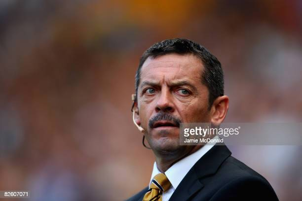Hull manager, Phil Brown looks on during the Barclays Premier League match between Hull Ciy and Wigan Athletic at the KC Stadium on August 30, 2008...
