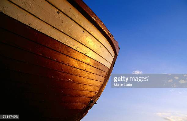 Hull of wooden boat at Havneby harbour, Havneby, Denmark