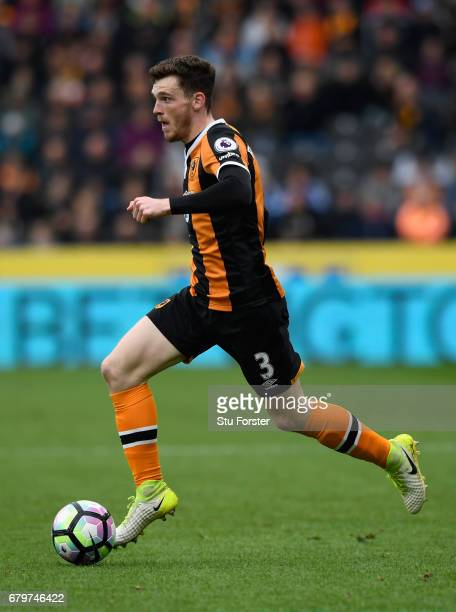 Hull player Andy Robertson in action during the Premier League match between Hull City and Sunderland at KCOM Stadium on May 6, 2017 in Hull, England.