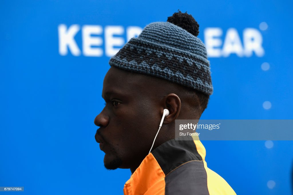 Hull player Oumar Niasse wearing a nice wool hat arrives at the stadium before the Premier League match between Hull City and Sunderland at KCOM Stadium on May 6, 2017 in Hull, England.