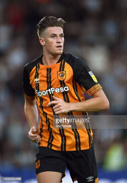 Hull player Reece Burke in action during a preseason friendly match between Hull City and Newcastle United at KCOM Stadium on July 24 2018 in Hull...
