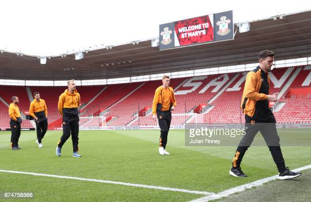 Hull players inspect the pitch prior to the Premier League match between Southampton and Hull City at St Mary's Stadium on April 29 2017 in...