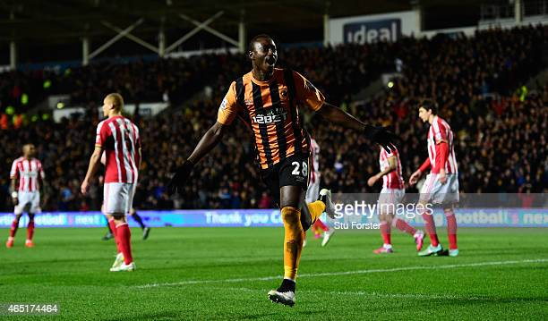 Hull striker Dame N' Doye celebrates after scoring the first goal during the Barclays Premier League match between Hull City and Sunderland at KC...