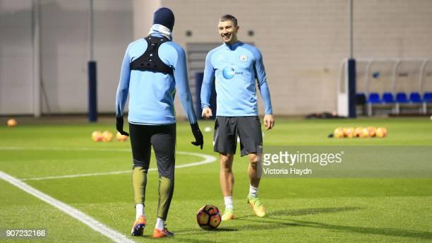 Hull v Manchester City Premier League Manchester City Training City Academy Manchester City's Aleksandar Kolarov during training