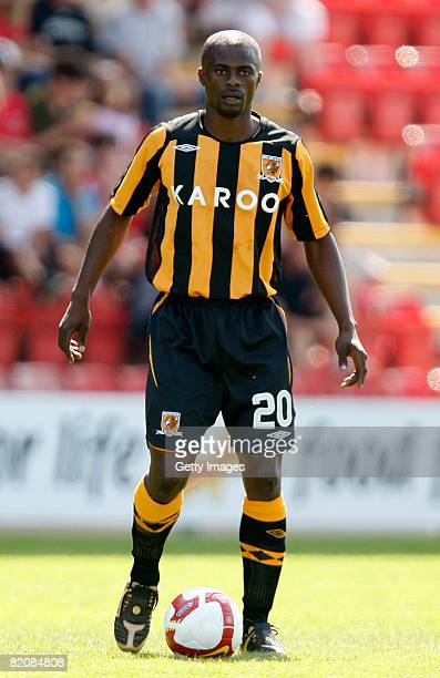 Hull's George Boatang with the ball at his feet during the pre season friendly match between Crewe Alexandra and Hull City on July 26 2008 in Crewe...