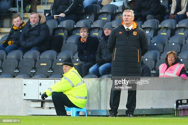 Hull's head coach Nigel Adkins during the Sky Bet Championship match between Hull City and Brentford at KCOM Stadium on December 9 2017 in Hull...