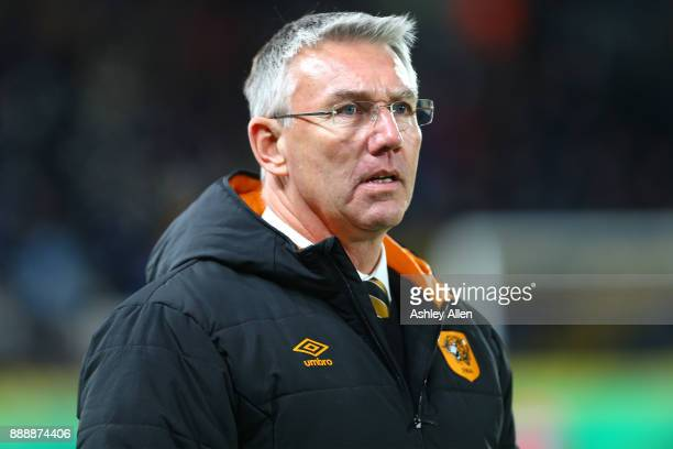 Hull's head coach Nigel Adkins looks on during the Sky Bet Championship match between Hull City and Brentford at KCOM Stadium on December 9 2017 in...