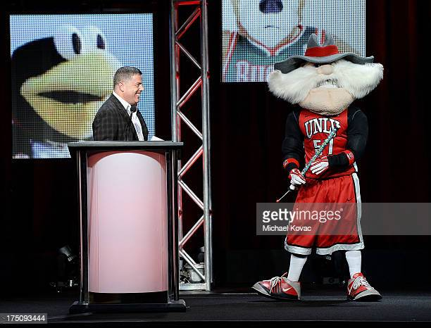 Hulu Acting CEO Andy Forssell and UNLV mascot Hey Reb performed by Jon 'Jersey' Goldman present onstage during the 'Behind the Mask' portion of the...