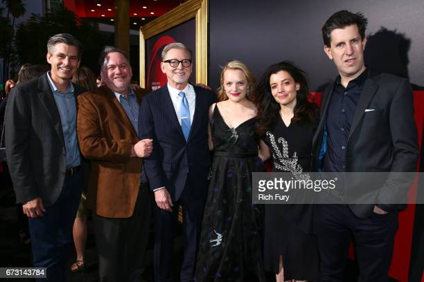 Hulu CEO Mike Hopkins producer Bruce Miller producer Warren Littlefield actor Elisabeth Moss Hulu head of original programming Beatrice Springborn...