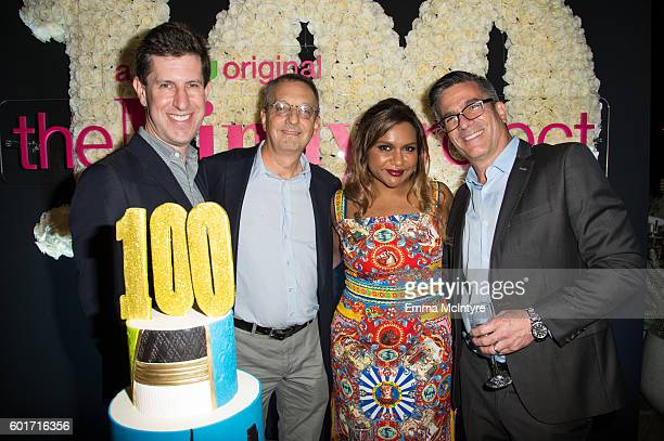 Hulu SVP Head of Content Craig Erwich Executive Producer Howard Klein actress Mindy Kaling and Executive Producers Michael Spiller attend The Mindy...