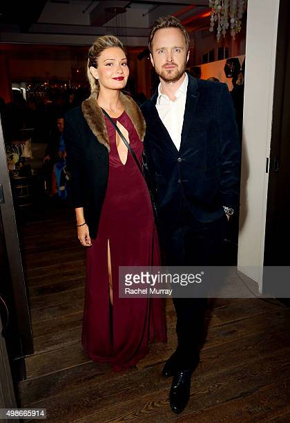 Hulu's The Path Actor Aaron Paul and wife Lauren Parsekian attend the Hulu holiday party on November 24 2015 in Beverly Hills California
