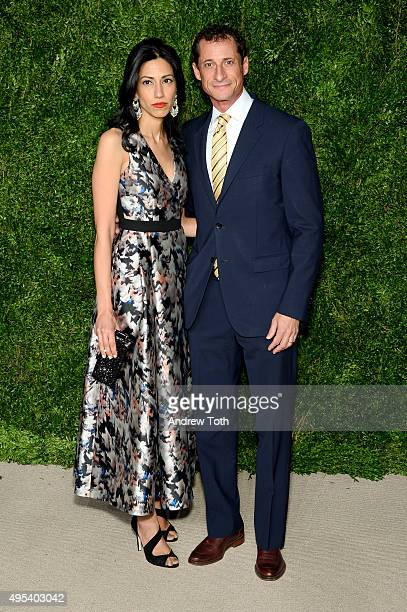 Huma Abedin and Anthony Weiner attend the 12th annual CFDA/Vogue Fashion Fund Awards at Spring Studios on November 2 2015 in New York City