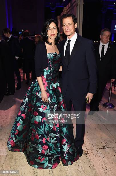 Huma Abedin and Anthony Weiner attend the 2015 amfAR New York Gala at Cipriani Wall Street on February 11 2015 in New York City