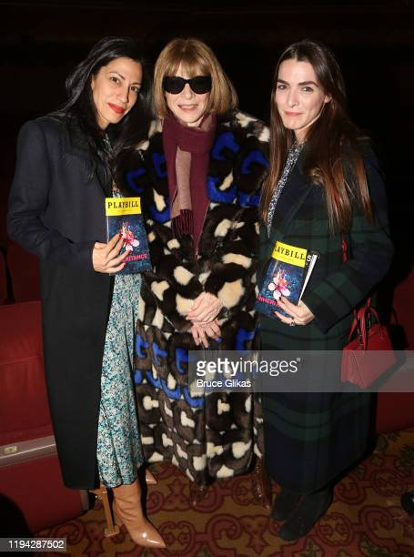 Huma Abedin Anna Wintour and Bee Shaffer Carrozzini pose backstage at the hit play The Inheritance on Broadway at The Barrymore Theatre on December...