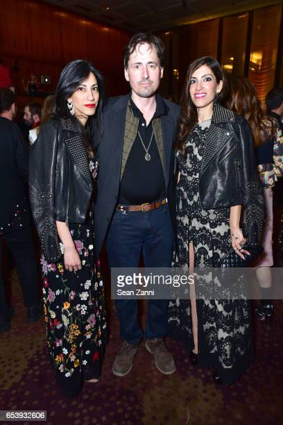 Huma Abedin Anthony Holbrook and Heba Abedin attend Art Production Fund's Bright Lights Big City Gala at Seagram Building on March 13 2017 in New...