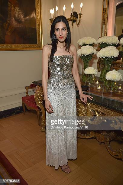Huma Abedin attends the Bloomberg Vanity Fair cocktail reception following the 2015 WHCA Dinner at the residence of the French Ambassador on April 30...