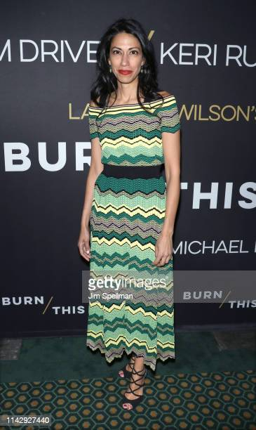 Huma Abedin attends the Burn This opening night at Hudson Theatre on April 15 2019 in New York City